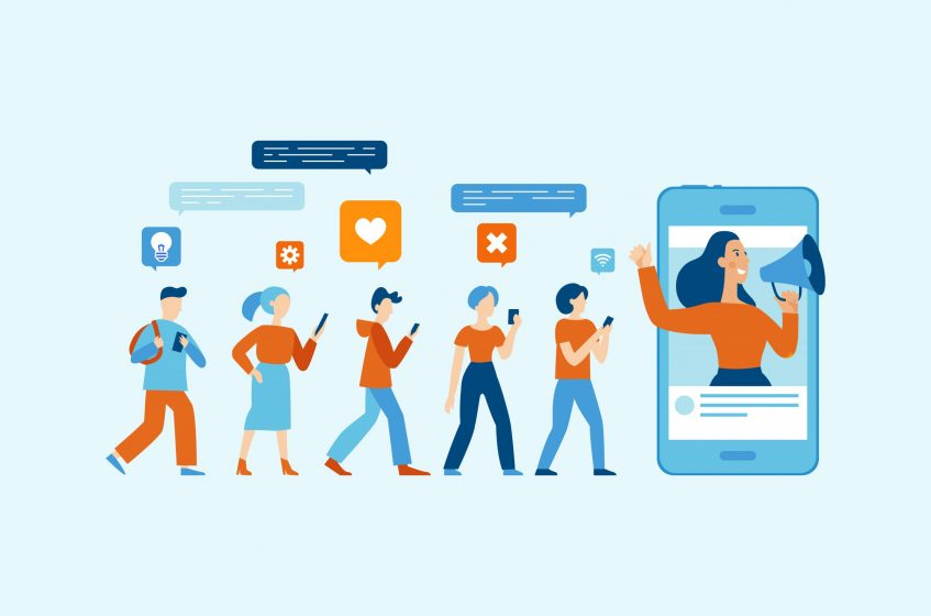 Vector illustration in flat simple style with characters - influencer marketing concept - blogger promotion services and goods for his followers online