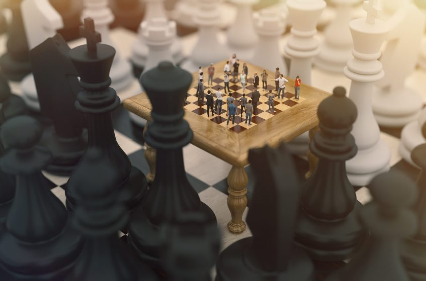 Chess board game concept for ideas and competition and strategy or Simulation Hypothesis, Theory concept. 3d rendering